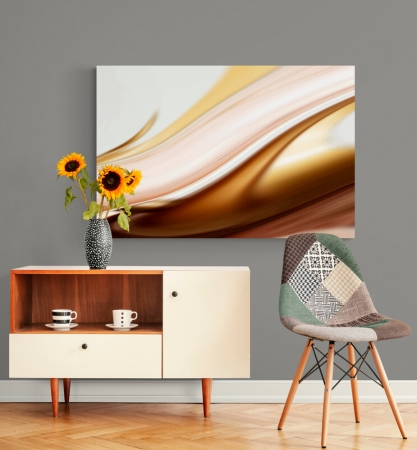 Quadro Para Sala - Abstrato Ondas Douradas - 120x80cm