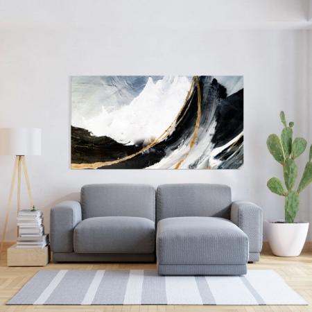 Quadro Decorativo - Abstrato Preto e Branco com Detalhes Dourados - 110x60cm