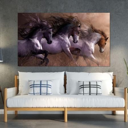 Quadro para Sala - Cavalos a Galope - 110x70cm