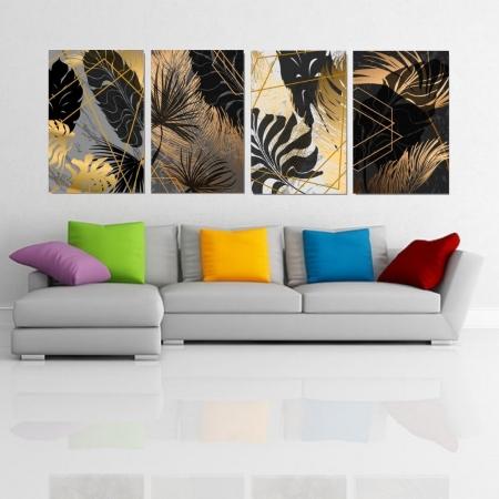 Quadros Para Sala - Folhagens Abstratas Modernas - 40x60cm