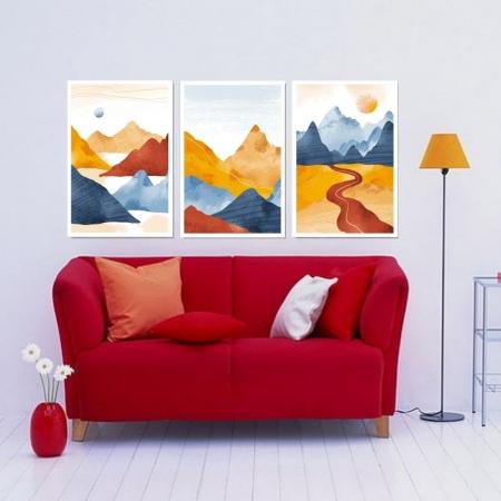 Quadro Para Sala - Montanhas e Caminho - Arte Moderna - 120x70cm