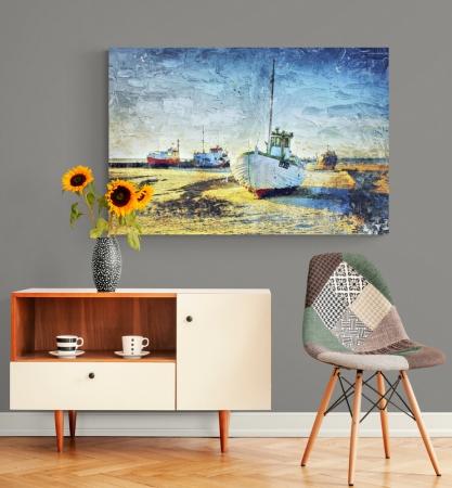 Quadro Para Sala - Estilo Pintura - Barco Atracado - 110x75cm