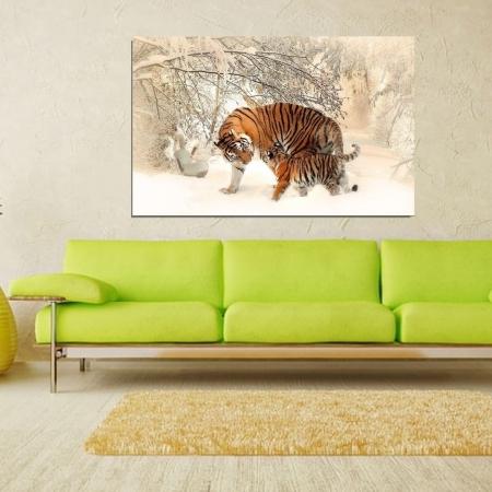 Quadro Para Sala - Tigre e seu Filhote - 110x70cm