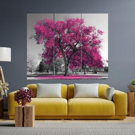 Quadro Decorativo Para Sala - 3 Telas - Arvore Rosa - 120x100