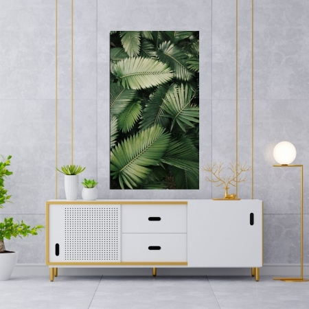 Quadro Decorativo Vertical Folhas Verdes 100x55cm