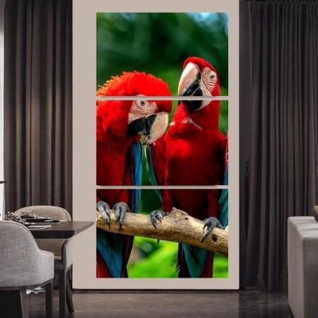Quadros Decorativos - 3 Telas - Araras Vermelhas - 210x100 cm