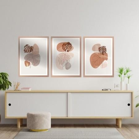 Quadros Decorativos Abstrato Minimalista Delicado 3 Peças 60x40cm