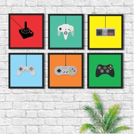 Quadros Decorativos - Controles Vídeo Game - 6 Telas - 30x30