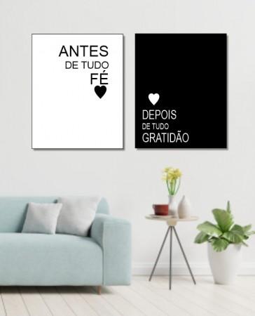 Quadros Decorativos - Fé e Gratidão - Duas Telas - 50x40cm
