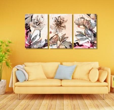 Quadros Decorativos Flores Minimalistas Vintage 40x60