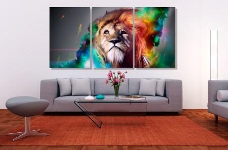 Quadros Decorativos Leão Colorido 3 Peças 120x60
