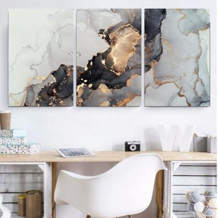 Quadro Decorativo - Mármore Branco Abstrato - 120x60
