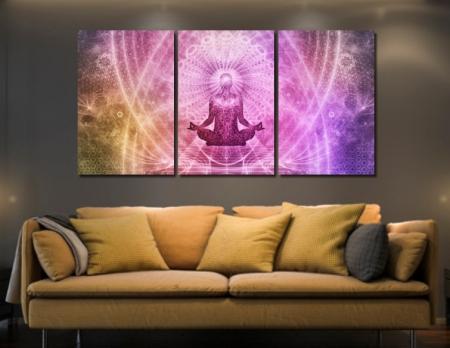 Quadros Decorativos - Meditação/Espiritualidade - Três Telas - 180x90