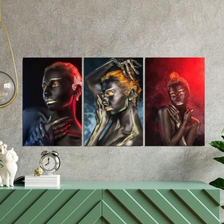 Quadro Decorativo 3 Telas Mulheres com Pintura Corporal - 120x60