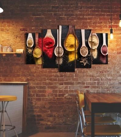 Quadros Decorativos Temperos Coloridos 5 Peças 110x60