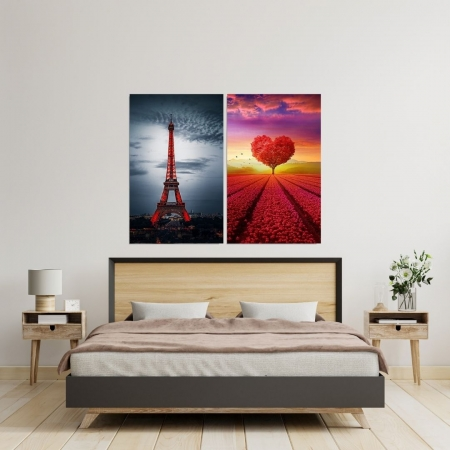 Conjunto Com Duas Telas -  Arvore Coração e Torre Eiffel - Duas Telas 90x50cm