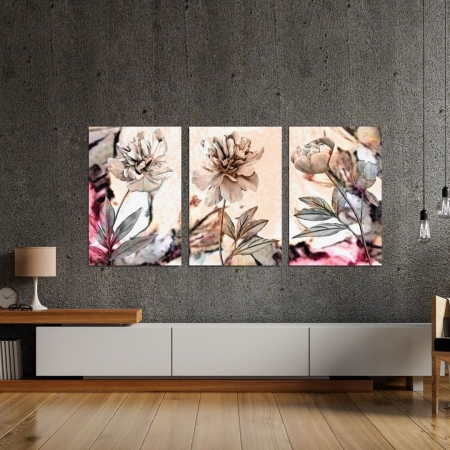 Quadros Para Sala - Flores Minimalistas - Tons Neutros - Três Telas - 60x40cm