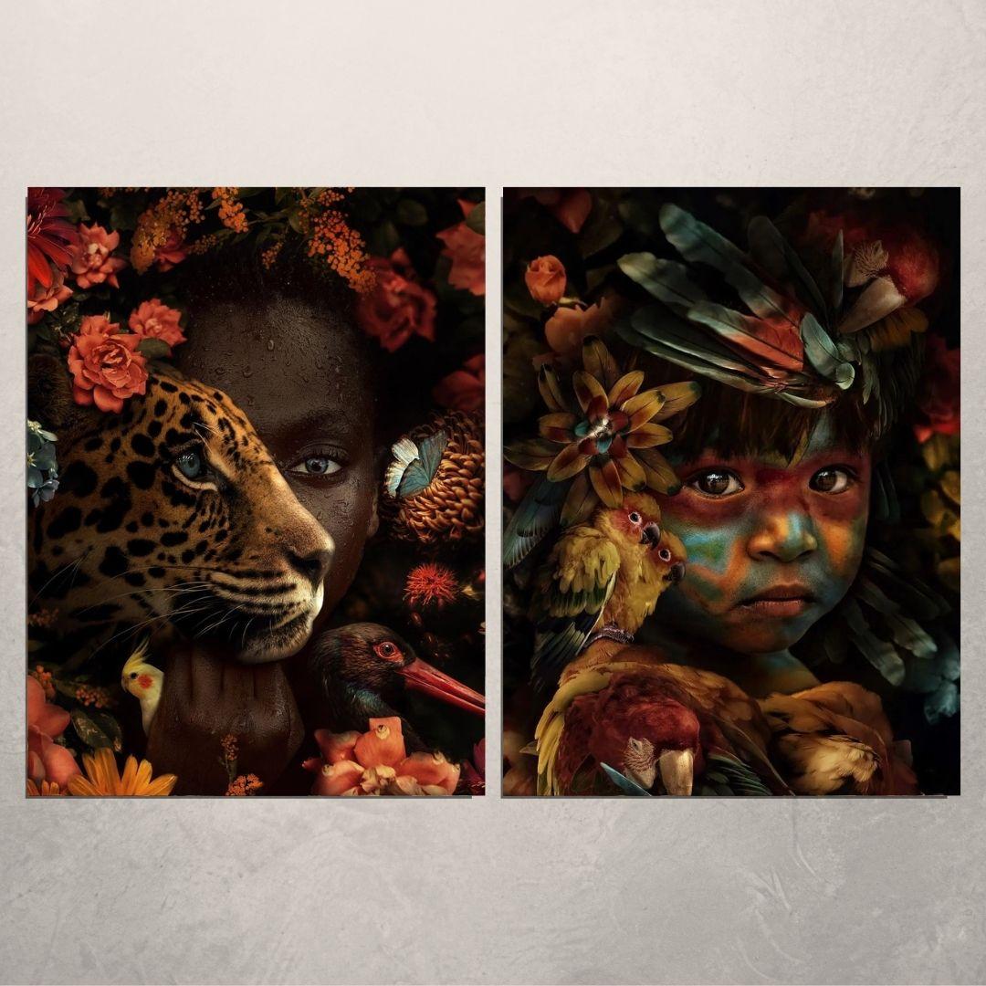 Quadros Decorativos - 2 Telas - Índia e Africana - 80x60cm