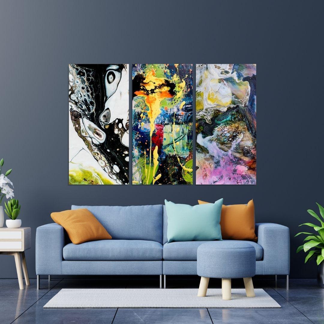 Quadros Decorativos - 3 Telas - Abstratos Requintados - 100x50cm