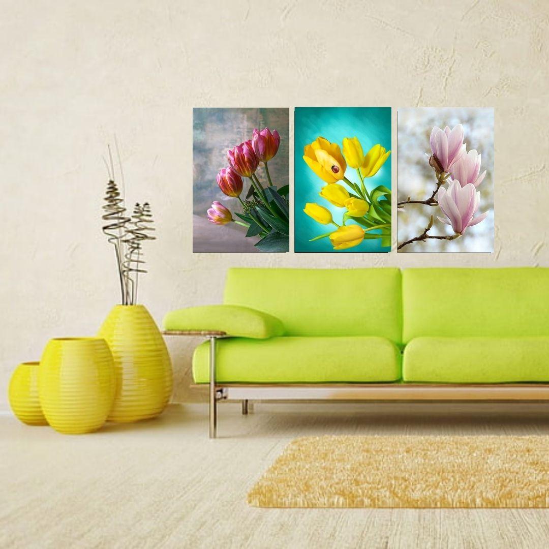 Quadro Decorativo - 3 Telas - Flores do Campo - 60x40cm