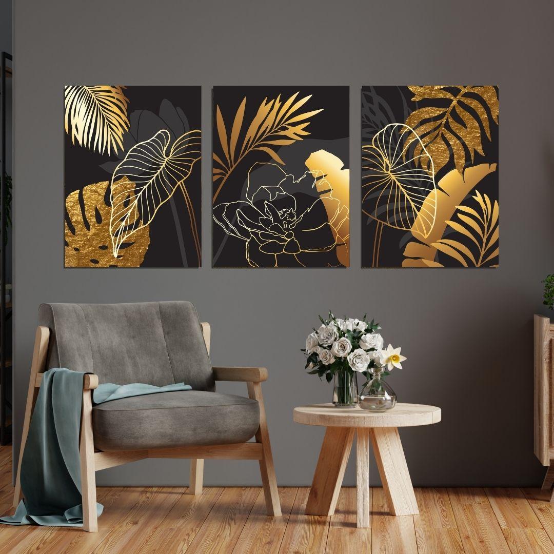 Quadro Decorativo 3 Telas - Folhagens Pretas e Douradas - Luxo - 60x40cm