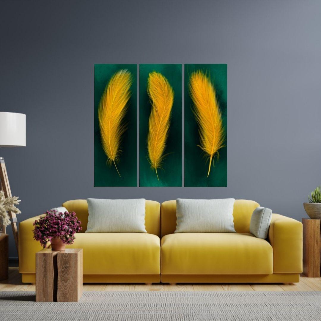 Quadro Decorativo 3 Telas Para Sala - Plumas - 90x30