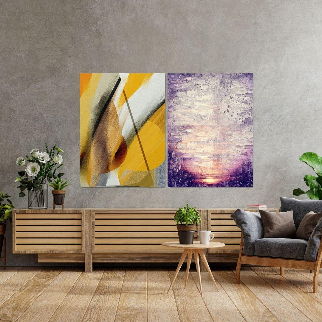 Quadros Decorativos - 2 Telas - Abstratos - 80x60cm