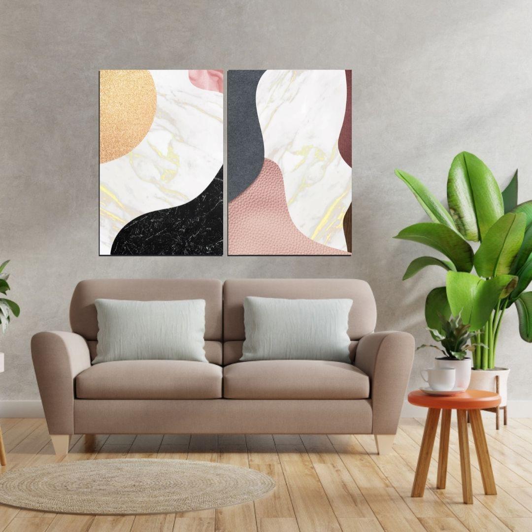 Quadros Decorativos Para Sala - Abstratos - Tons Neutros - 80x55cm