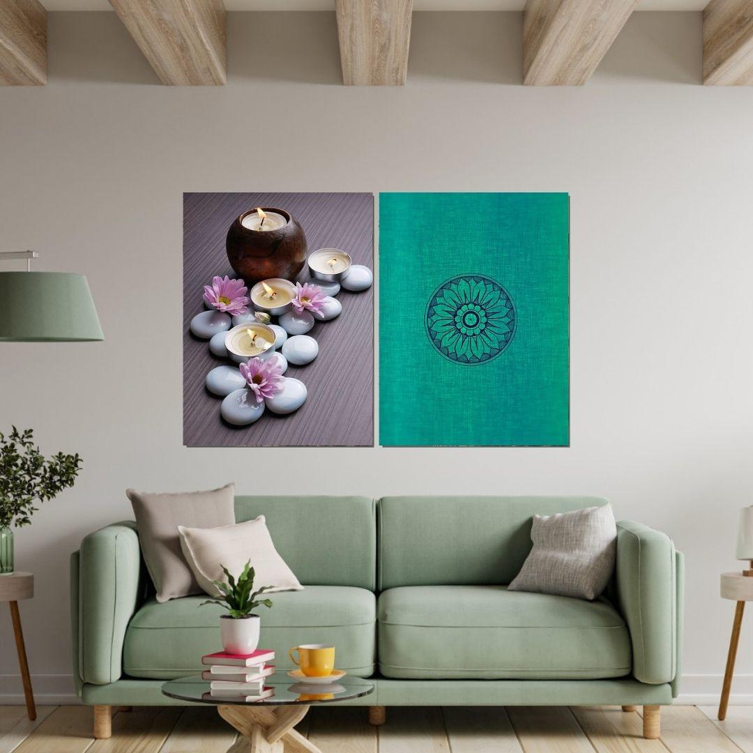 Quadros Decorativos - 2 Telas - Mandala -Zen - 80x60cm