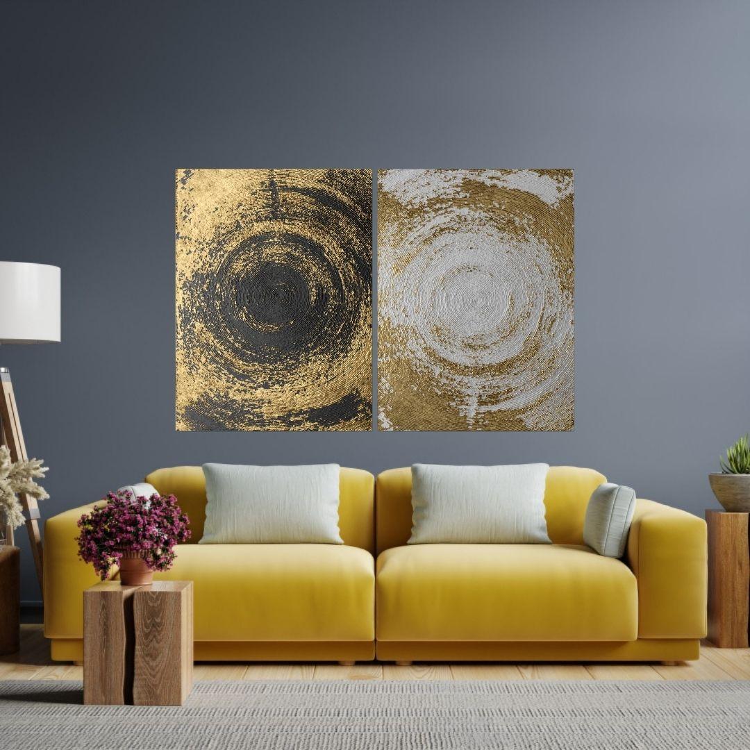 Quadros Decorativos - 2 Telas - Abstratos Dourados - 80x60cm