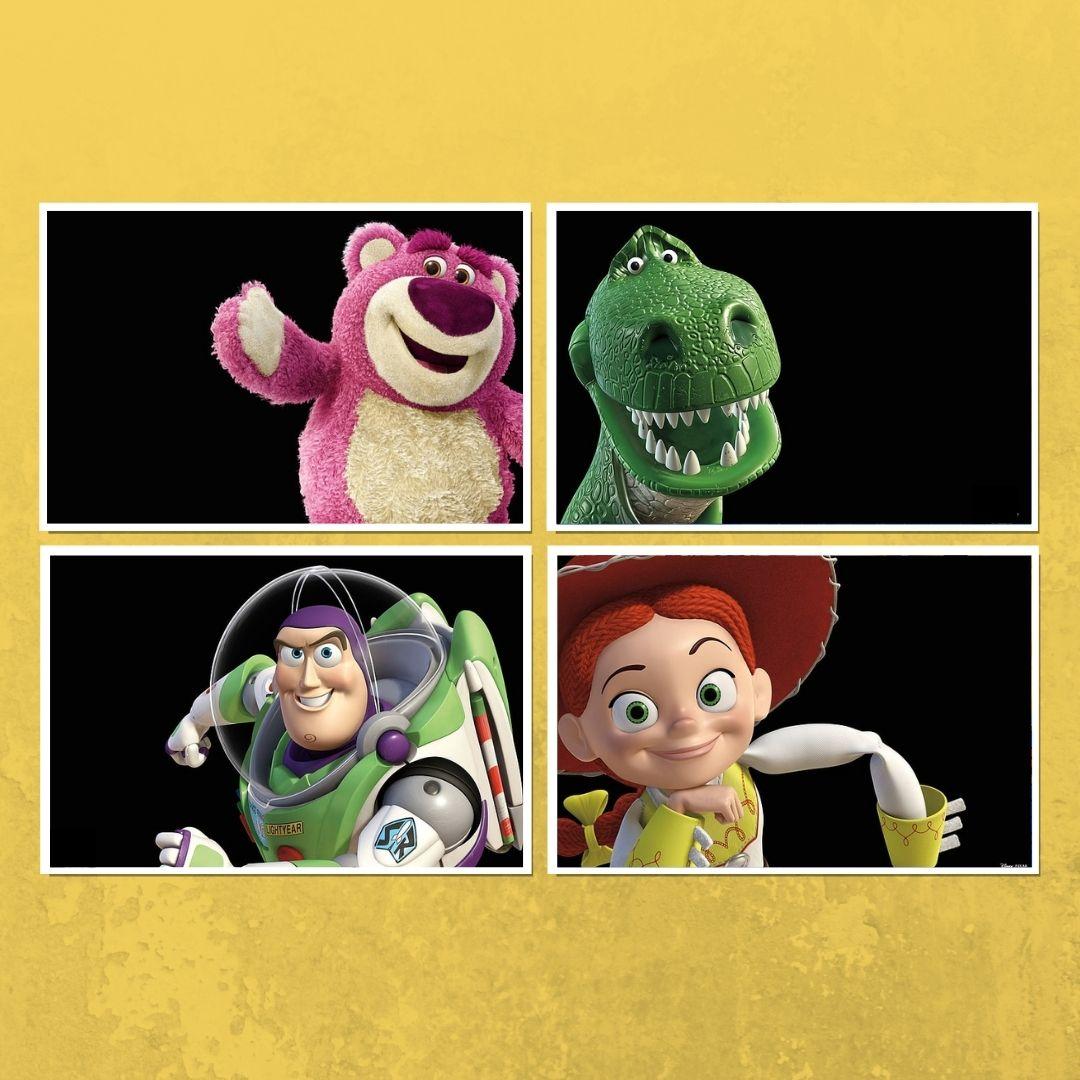 Conjunto com 4 Telas - Personagens Toy Story - 60x40cm