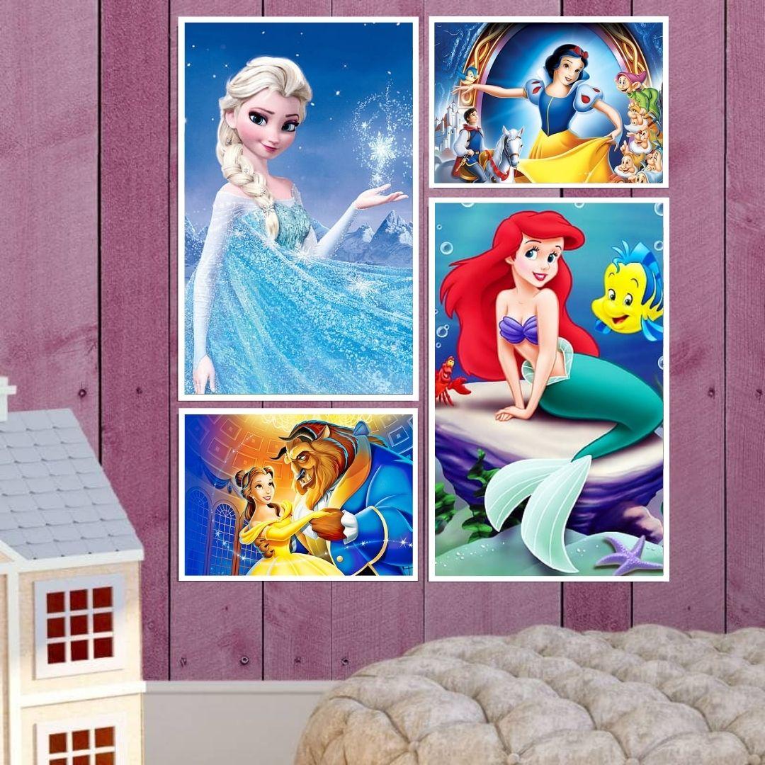 Quadros Decorativos - 4 Telas - Princesas da Disney
