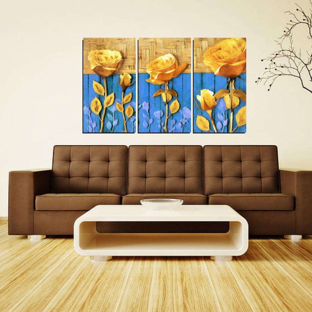 Quadro Decorativo - Rosas Amarelas Fundo Azul - 3 Telas - 70x40cm