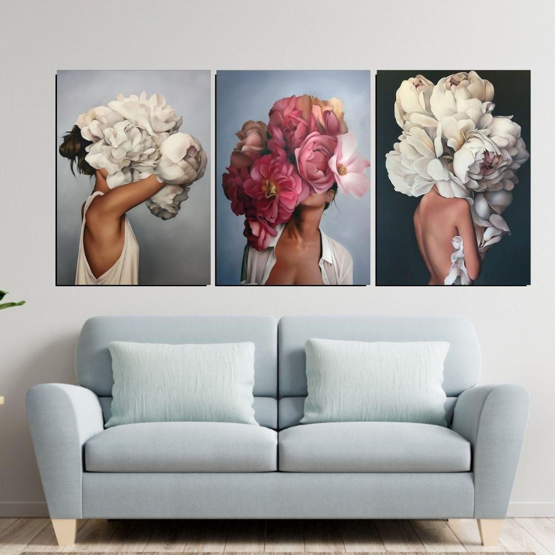 Quadros Decorativos 3 Telas - Mulheres Com Flores na Cabeça - 70x50cm