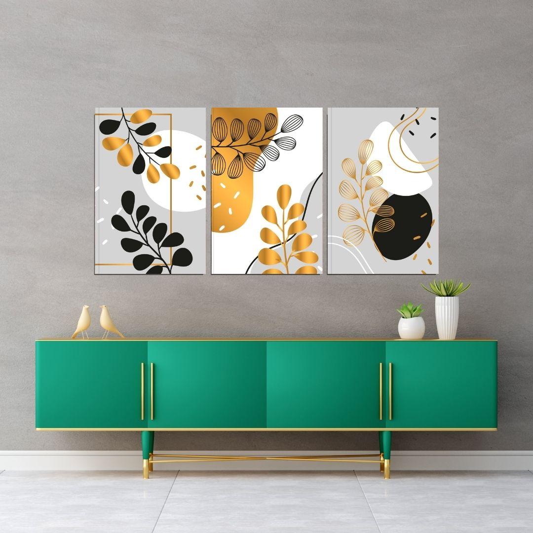 Quadros Decorativos 3 Telas - Folhas Abstratas Modernas - 60X40cm