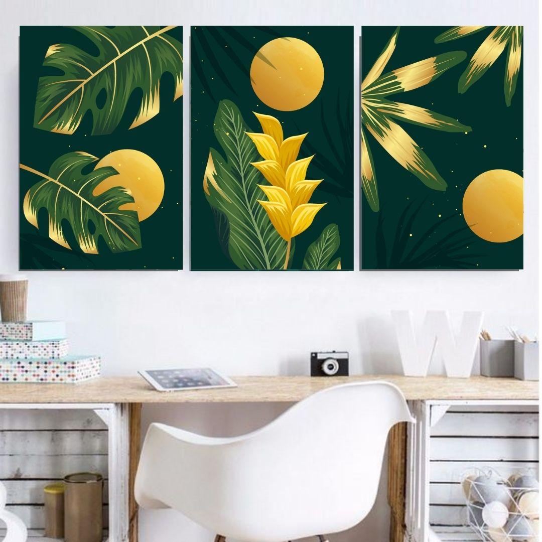 Quadro Decorativo Para Sala - Folhagem Verde e Amarela - 60X40cm