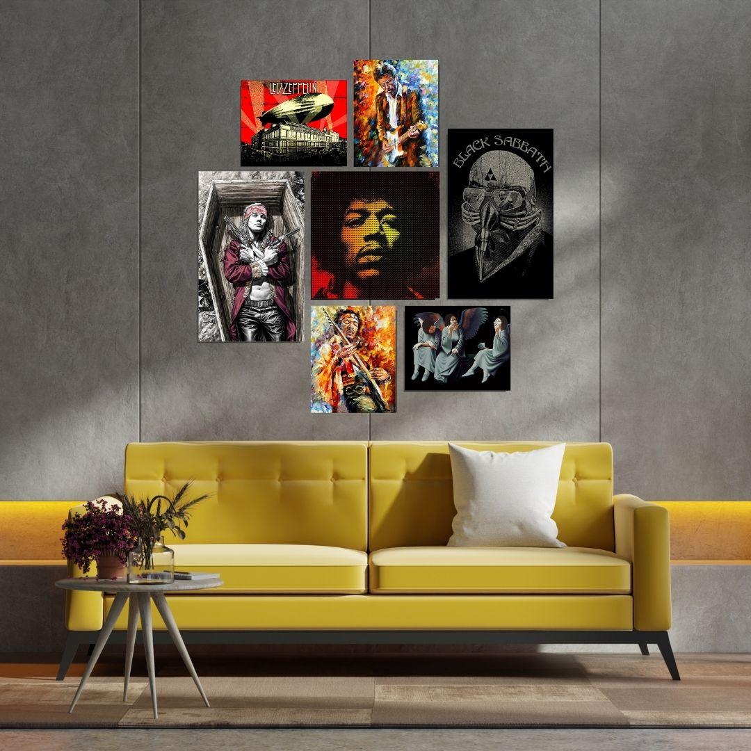 Quadros Decorativos - 7 Telas - Rock Stars