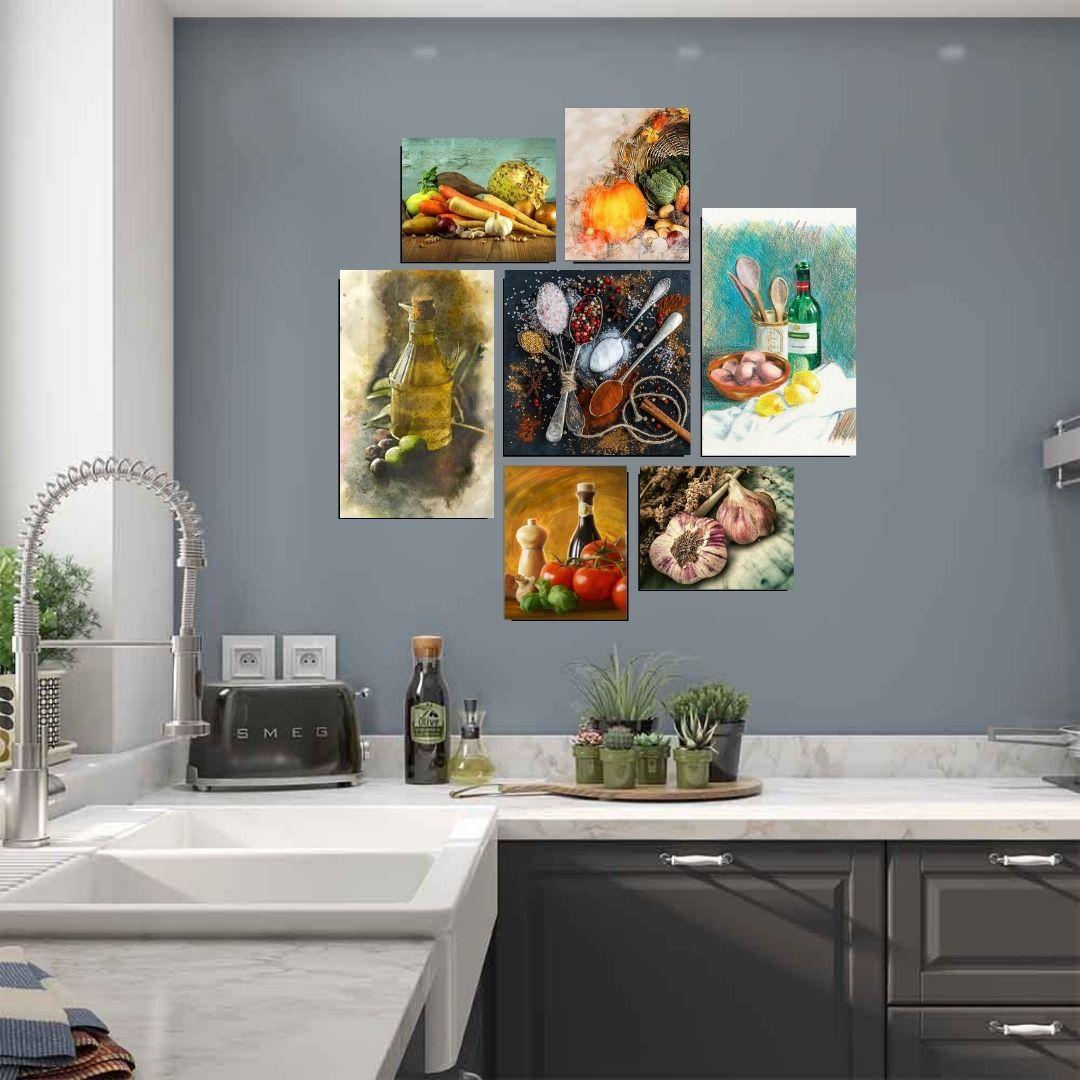 Quadros Decorativos - Para Cozinha - 7 Telas - Temperos
