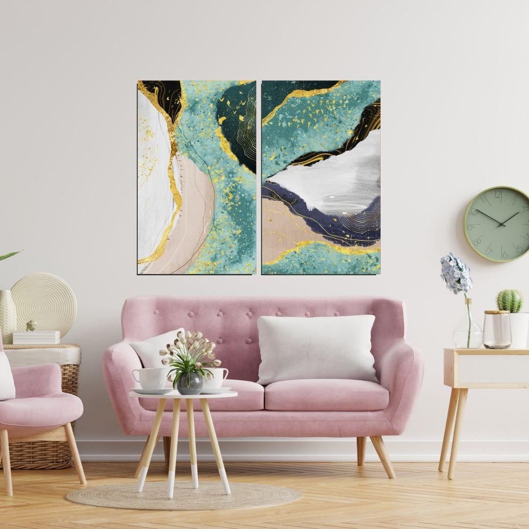 Quadro Decorativo - 2 Telas Abstratas - 90x55cm