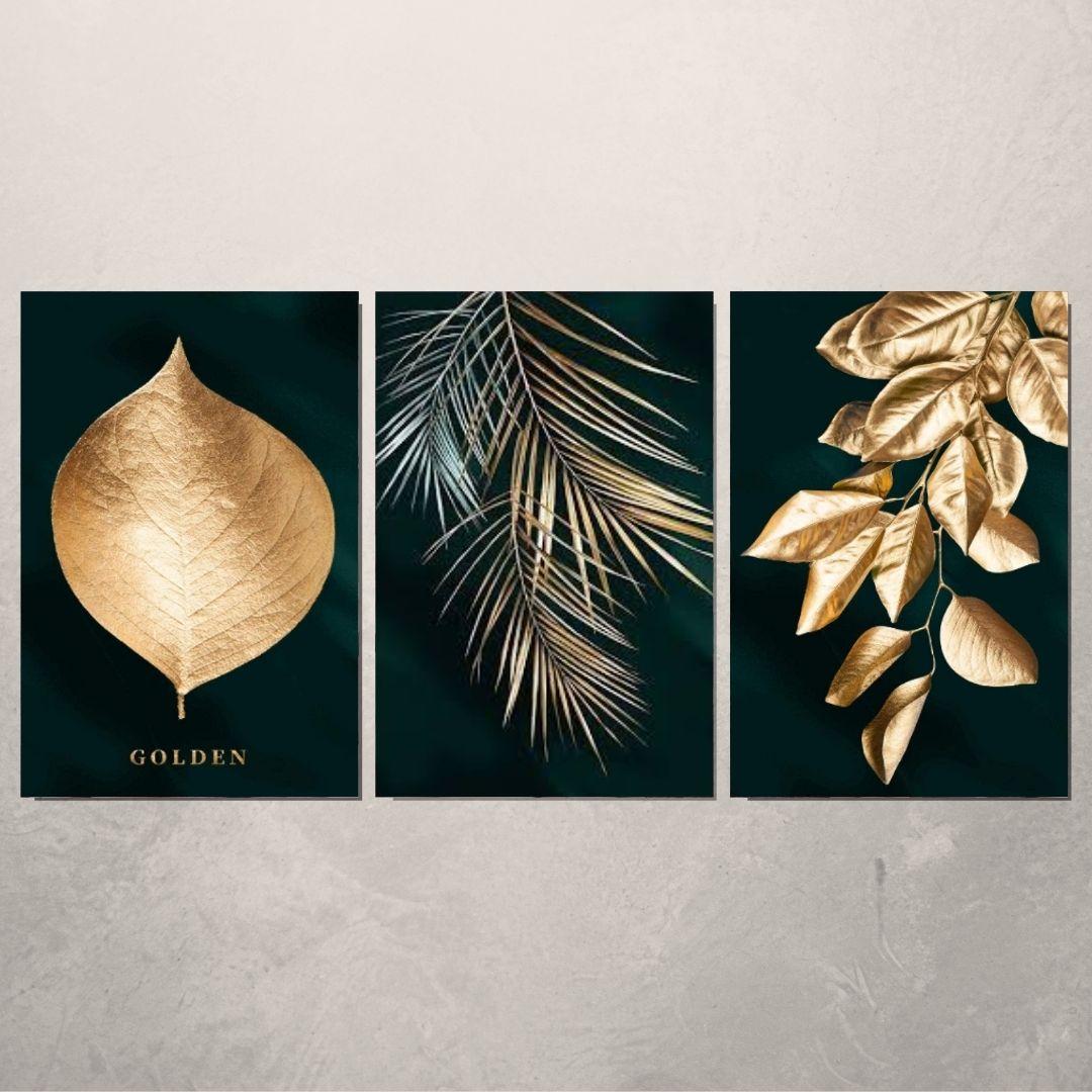 Quadro Decorativo - 3 Telas - Folhas Douradas -  60x40cm