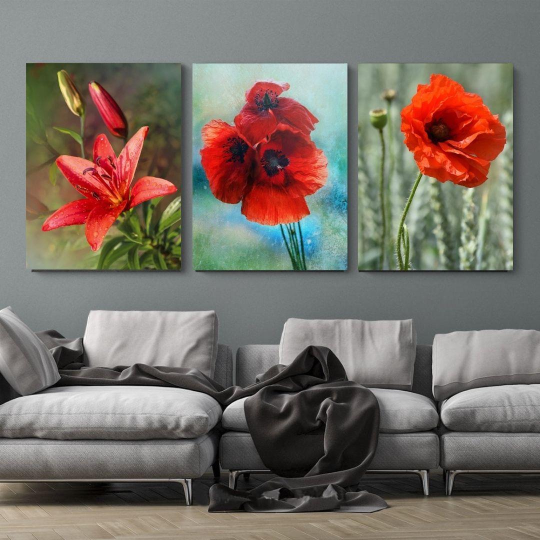 Quadro Decorativo -3 Telas - Flores Silvestres - 60x40cm