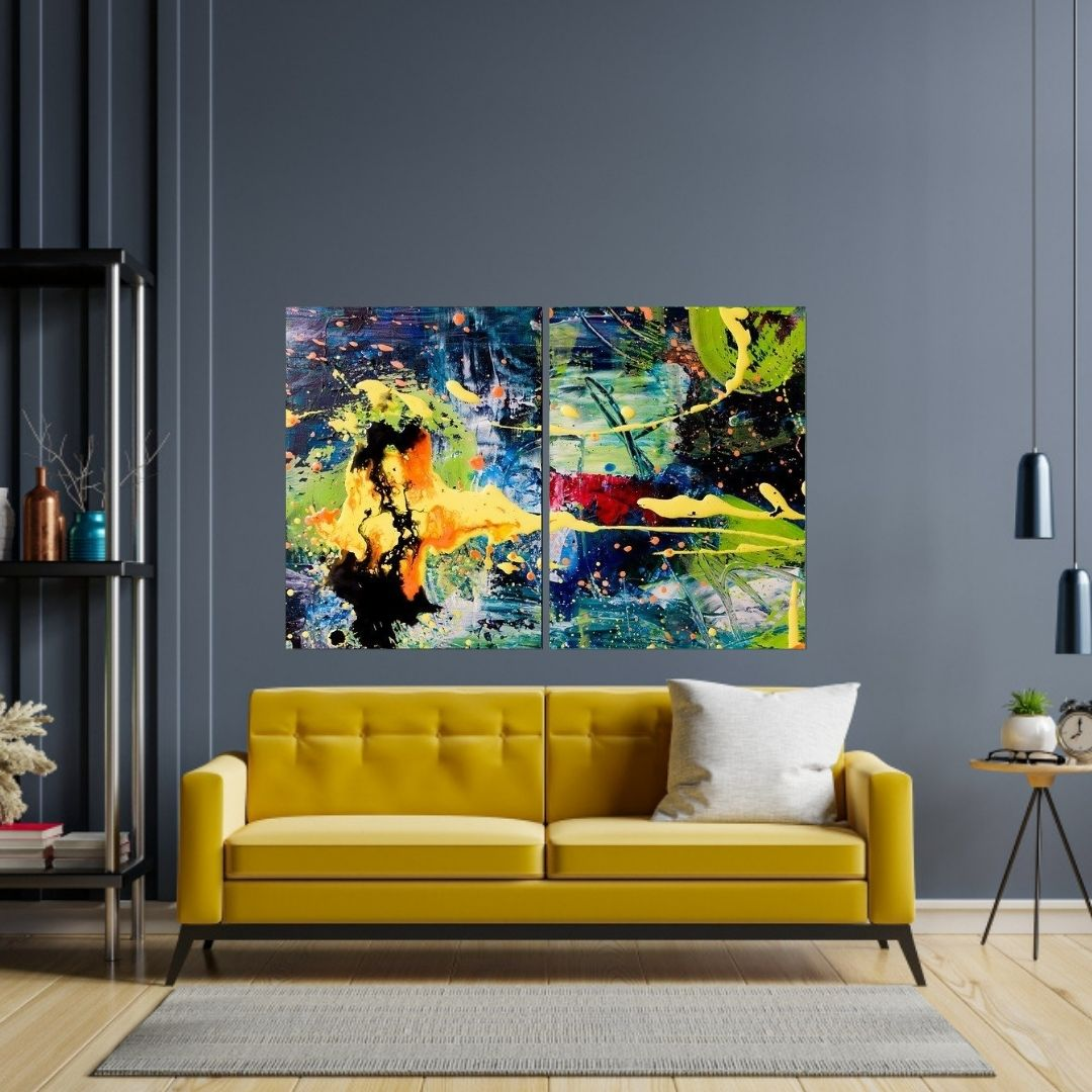Quadro Decorativo - 2 Telas - Abstrato Colorido - 120x80cm