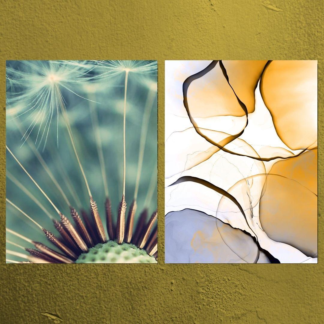 Quadro Decorativo - 2 Telas - Dente de Leão e Abstrato - 80x60cm