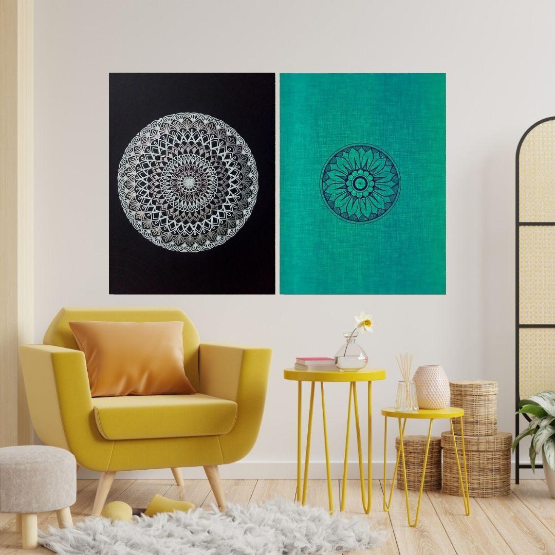 Quadros Decorativos - 2 Telas - Mandalas - 80x60cm.