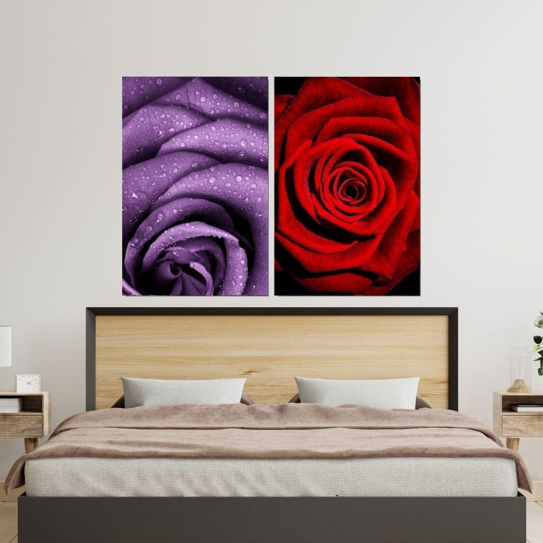 Quadro Decorativo - 2 Telas - Rosas - 90x60cm