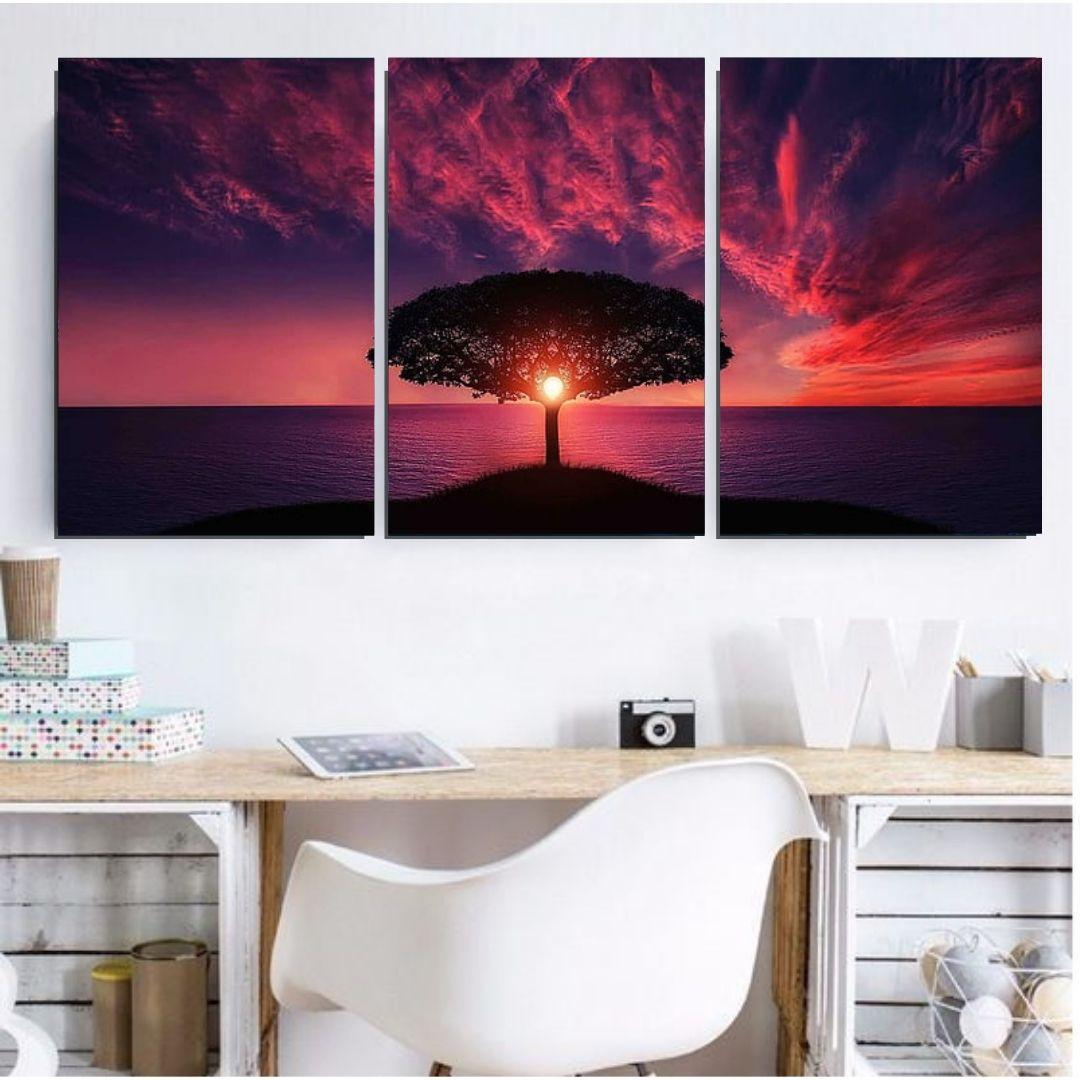 Quadro Decorativo Para Sala - 3 telas - Arvore com Por do Sol - 120x60cm