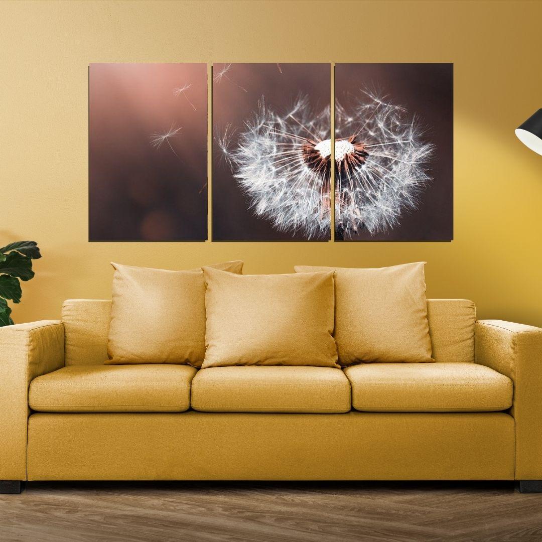 Quadro Decorativo - 3 Telas - Dente de Leão Fundo Marrom - 120x60cm