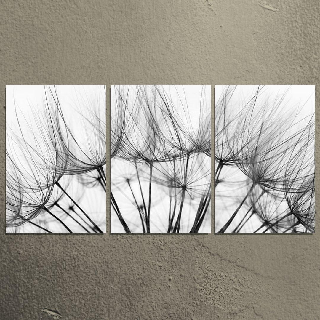Quadro Decorativo - 3 Telas - Dente de Leão Preto e Branco - 120x60cm