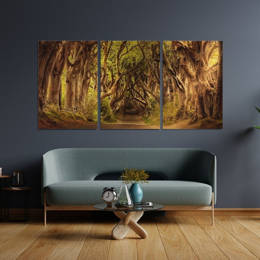 Quadro Decorativo - 3 telas - Estrada com Arvores - 120x60cm