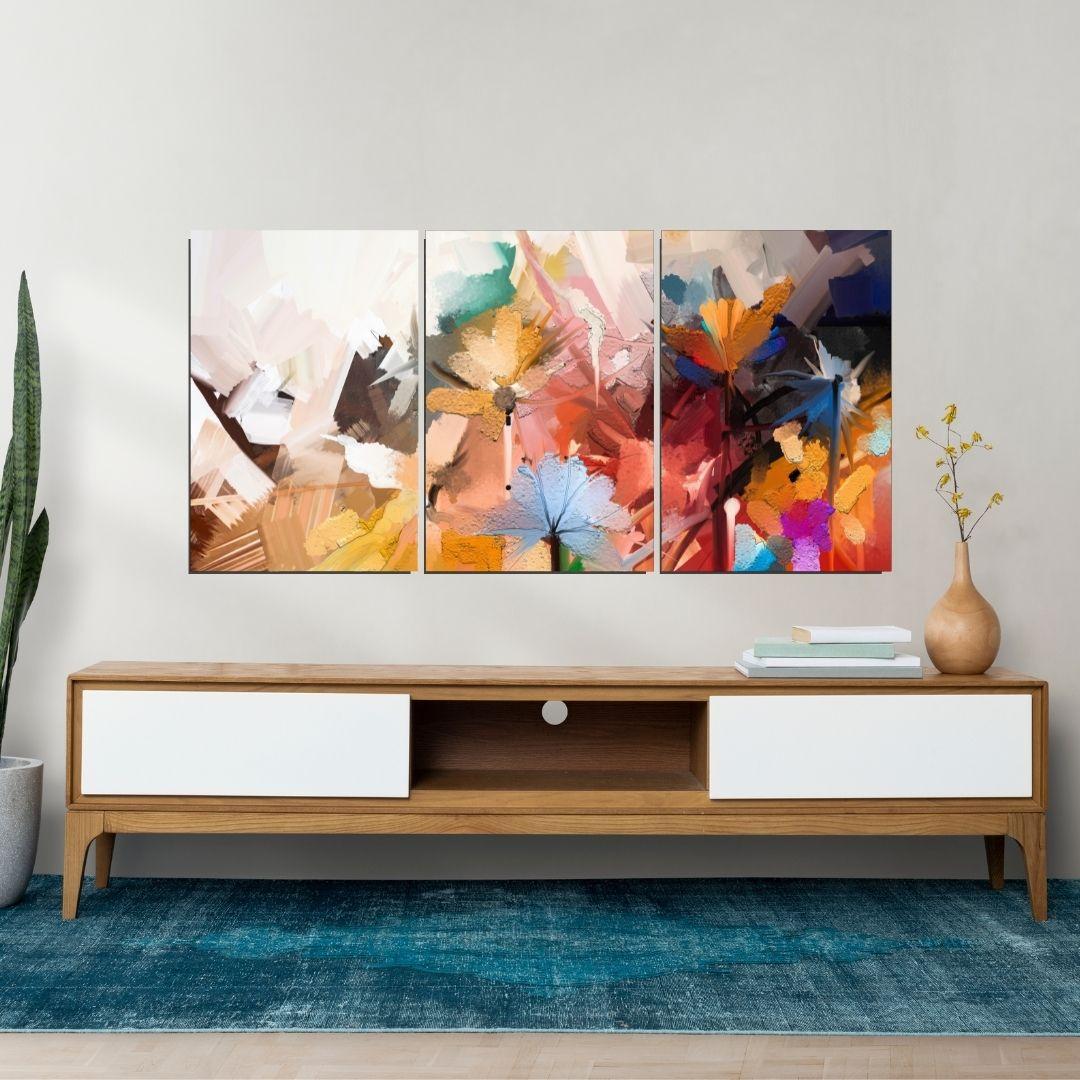 Quadro Decorativo - 3 Telas - Flores Espatuladas - 120x60cm